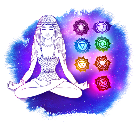 Woman in pose of lotus on space background.