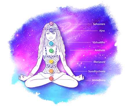 Woman meditating on outer space background
