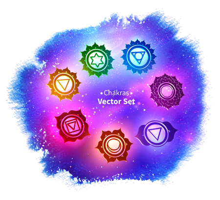Chakras on ultraviolet outer space background
