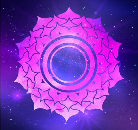 Sahasrara chakra vector illustration of on outer space ultraviolet background.