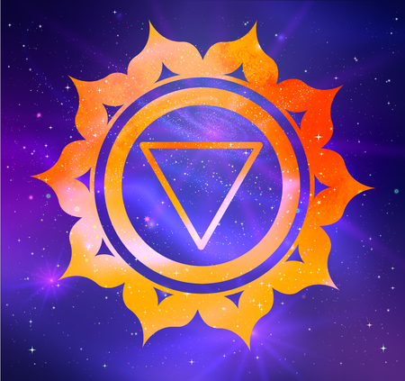 Manipura chakra vector illustration of on outer space ultraviolet background.