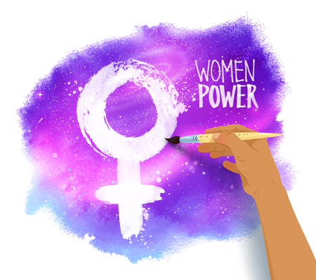 Woman hand drawing female symbol Vectores