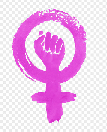 Hand drawn illustration of Feminism protest symbol Illusztráció
