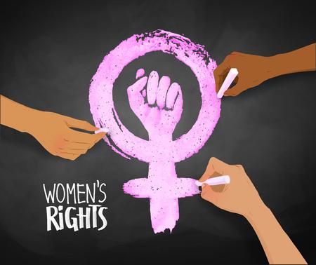 Womens hands drawing Feminism protest symbol Stock Illustratie