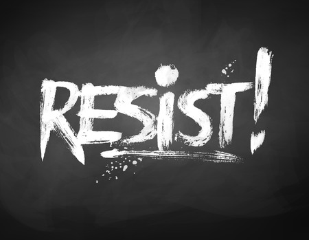 Chalked hand drawn Resist word lettering 일러스트