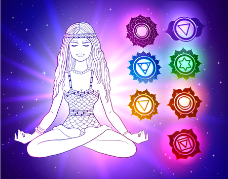 woman sitting in pose of lotus with glowing chakras Vector illustration isolated on white background. Illustration