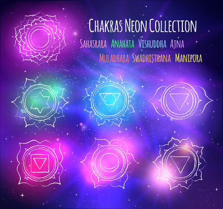 A line art chakras on outer space background