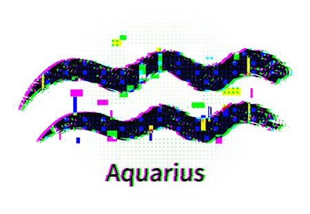Aquarius zodiac sign with grunge and glitch effect
