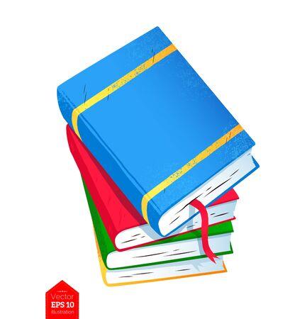 Top view illustration of books pile Illustration