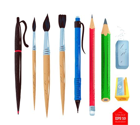 Top view illustration of artist supplies