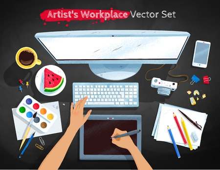Top view illustrations set of artists workplace  イラスト・ベクター素材