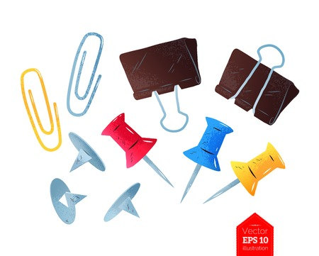 illustration of paper clips and push pins Illustration
