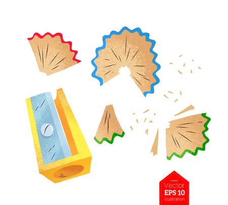 Top view vector illustration of sharpener and shavings isolated on white background. Vectores