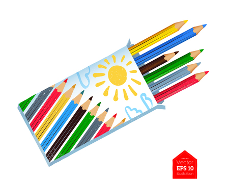 Top view illustration of color pencils