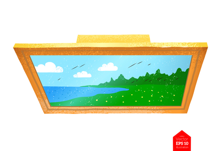 Top view illustration of photo frame  イラスト・ベクター素材