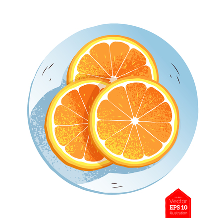 Top view illustration of slices of orange 矢量图像