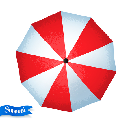 Top view vector summertime with umbrella illustration.  イラスト・ベクター素材