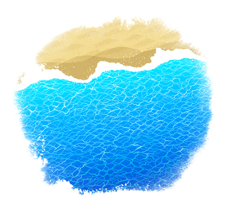 Watercolor stain background with sea surf