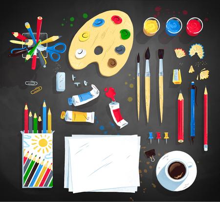 Bovenaanzicht vector illustratie set kunstenaar werkplek Vector Illustratie