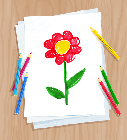 Top view vector illustration of child drawing of flower on white paper on wooden desk background with pencils.