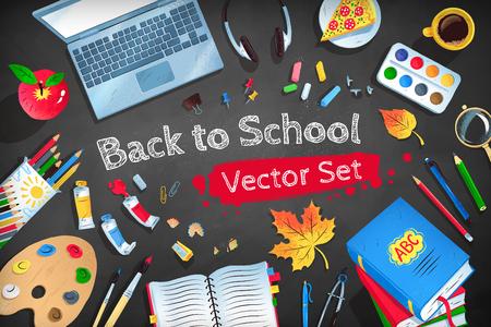 Top view vector illustration set of Back to School workplace on black chalkboard background. Illustration