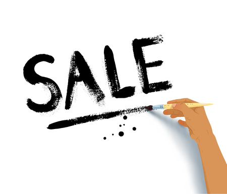 Vector illustration of female hand writing Sale word lettering with paintbrush on white background.