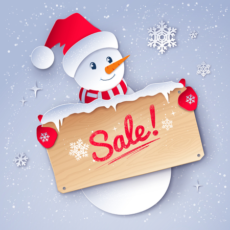 Vector paper cut style illustration of cute Snowman character with sale wooden signboard on snowfall background. Ilustração