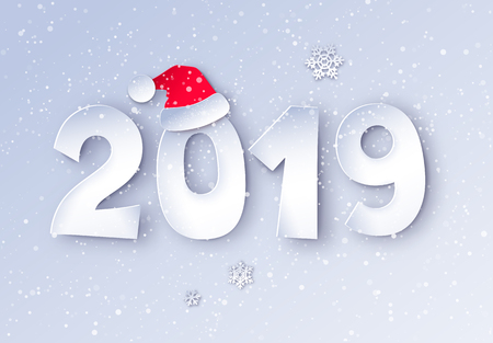 Vector cut paper art style illustration of 2019 numbers with Santa hat and snowflakes.