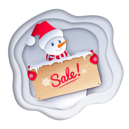Vector paper cut style illustration of cute Snowman character with sale wooden signboard on white layered shapes banner background. Ilustração