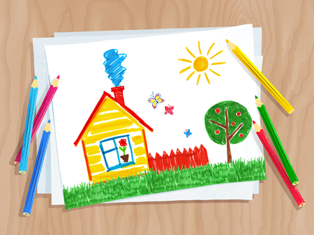 Top view vector illustration of child drawing of house and tree on white paper on wooden desk background with pencils.