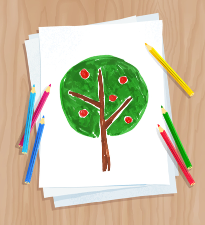 Top view vector illustration of child drawing of tree on white paper on wooden desk background with pencils.