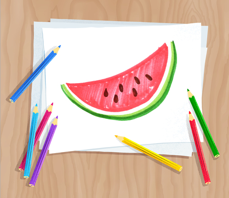 Top view vector illustration of child drawing of watermelon on white paper on wooden desk background with pencils.