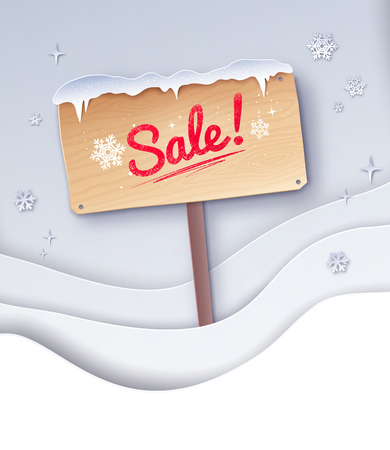 Paper cut illustration of Sale signboard