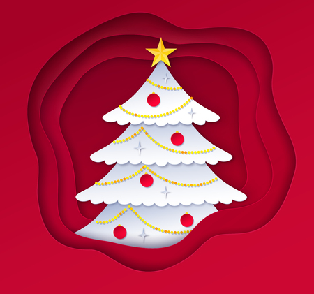 Vector illustration of decorated fir tree on red paper cut layered shapes banner background.