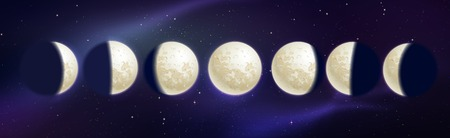 Vector illustration of moon phases on outer space background. Ilustrace