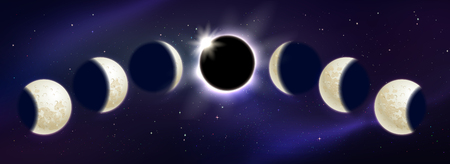 Vector illustration of moon phases and eclipse