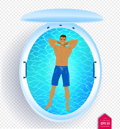 illustration of man in floating tank Stock Photo