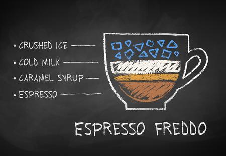 Vector chalk drawn sketch of Espresso Freddo Stock Photo