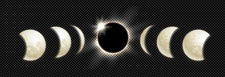 Vector illustration set of moon phases