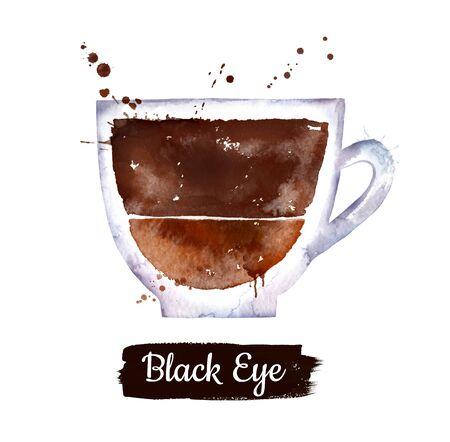 Watercolor illustration of Black Eye coffee