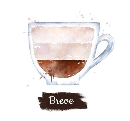Watercolor side view illustration of Breve coffee