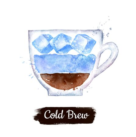 Watercolor side view illustration of Cold Brew coffee