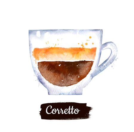 Watercolor side view illustration of Corretto coffee
