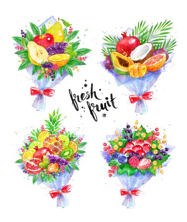 Illustration set of fresh fruit Bouquets