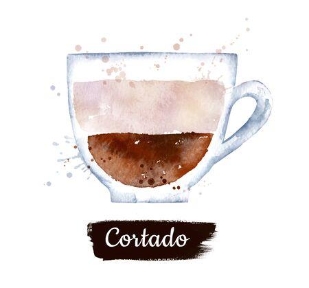 Watercolor illustration of Cortado coffee