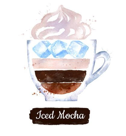 Watercolor illustration of Iced Mocha coffee Stok Fotoğraf