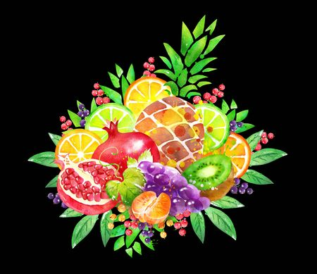 illustration of fresh fruit Bouquet Stok Fotoğraf