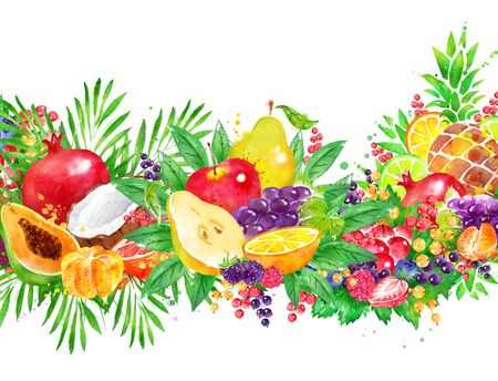 Background of fresh fruit and berries Stok Fotoğraf