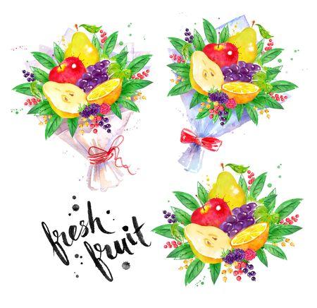 illustration set of fresh fruit Bouquet Stok Fotoğraf