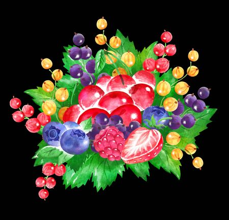 illustration of fresh berries Bouquet